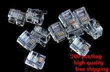 High Quality 200 Pcs 6P4C 4 Pins 4 Contacts RJ11 Telephone Modular Plug Jack ADSL RJ11 Connector