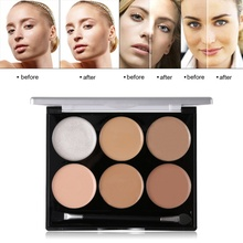 6 Color Facial Corrective Makeup Concealer Palette  All Round Contour Highlighter Flawless Make-up Base Corrector
