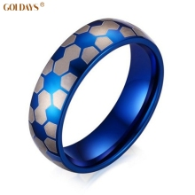 New Fashion Rings for Women Man with Blue World Cup football Lines Jewelry 6MM Titanium Material for Cool Women MenSize4#-14#(China)