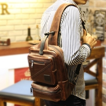 QIGER Fashion One Single Shoulder Vintage Crazy Horse Leather Male Chest Bags Big Messenger Bags Casual Mens Crossbody Bags