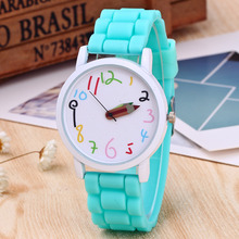 Candy Color  Silicone Watch  Children Student Watch Clock Quartz kids sport Watches