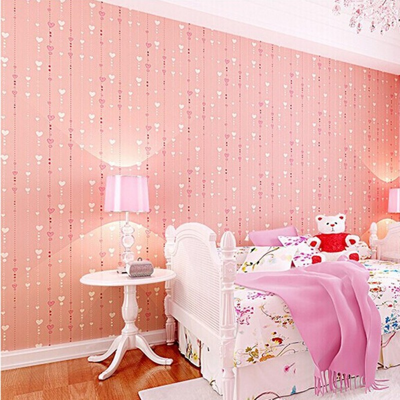 beibehang Non-woven pink love printed wallpaper roll striped design wall paper for kid room girls minimalist home decoration R50<br>