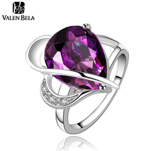 fashoin purple finger ring austrian crystal aneis femininos anillos anel White Color womens rings bague femme bijoux JZ5100