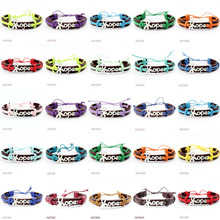 (10 PCS/lot) Awareness Hope Ribbon Adjustable Leather Cuff Bracelet for Men Women Punk Casual Wristbands Jewelry Many Colors(China)