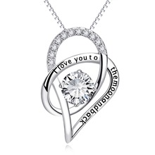 YFN 100% Real Pure 925 Sterling Silver I Love You To The Moon And Back CZ Rhinestone Heart Necklace Women Choker Bijouterie