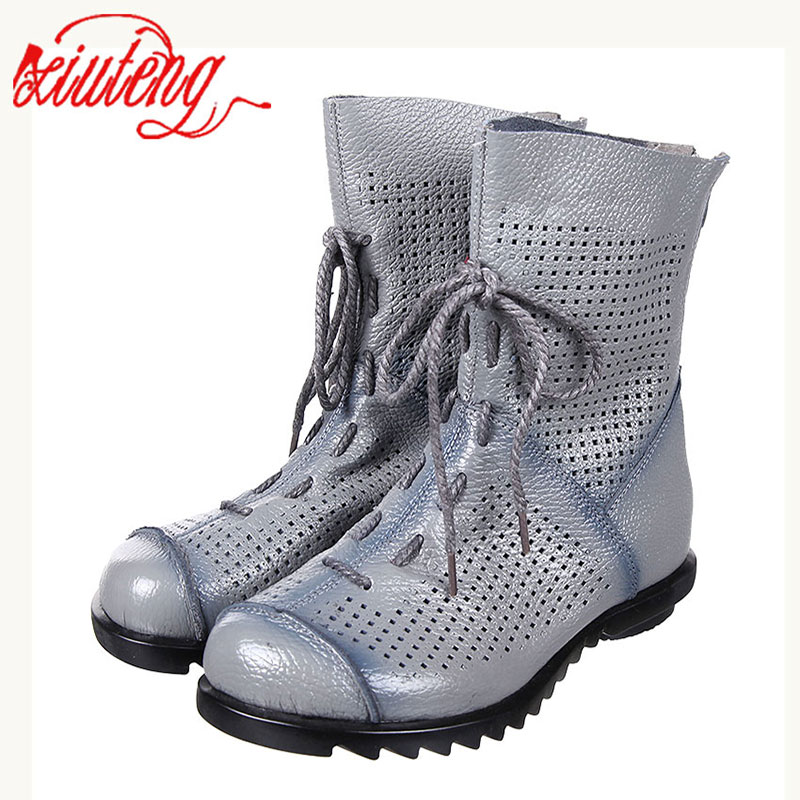 Xiuteng 2017 Style Cut Outs Women Ankle Boot Zapatos Mujer Gray And Black Genuine Leather Shoes Woman Summer Cool Boots With Zip<br>