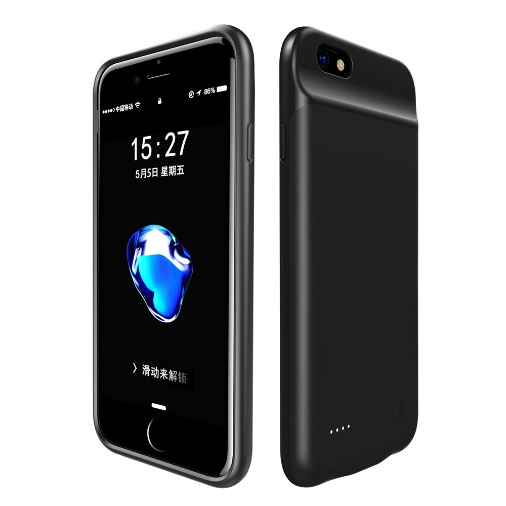 Black Color Wireless For iPhone7/8(3000mAh) For iPhone 7 8 Plus(4000mAh) Back Clip Battery Charger Case Power Bank Mobile Phone