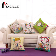 "Square 18"" Cotton Linen Cute Girl and Cartoon Cats Printed Sofa Throw Pillow Cushions No Filling Bedroom Waist Back Cushion"