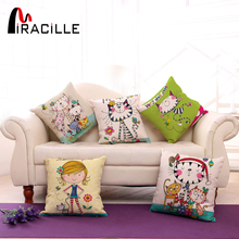 "Square 18"" Cotton Linen Cute Girl and Cartoon Cats Printed Sofa Throw Pillow Cushions No Filling Bedroom Waist Back Cushion(China)"