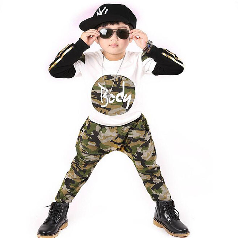 2017 childrens clothing suit boy camouflage sportswear spring and autumn children fit young people sportswear 4 -12 year 4<br>