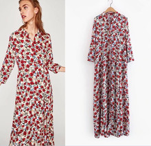 Early Autumn Winter Long Shirt Dress 2017 Women Fashion Style Three Quarter Sleeve Beautiful Red Rose Flowers Printed Long Dress(China)