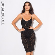 Love&Lemonade Sexy Black Lace Deep V Collar Bodycon Dress LM0523(China)