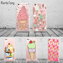 Sweet Ice Cream Pattern Phone Case For iphone 6 6s 5 5s SE 7 6Plus Transparent Silicone Cover Fundas Capinhas