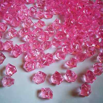 500pcs Acrylic Ice Rocks Acrylic Stones Crystals Pink Small Crystals