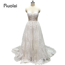 100% Real Photo Sexy Wedding Dresses Long V-Neck Straps A-Line Boho Wedding Gown 2017 Ivory Bridal Dress Robe de Mariage FW67