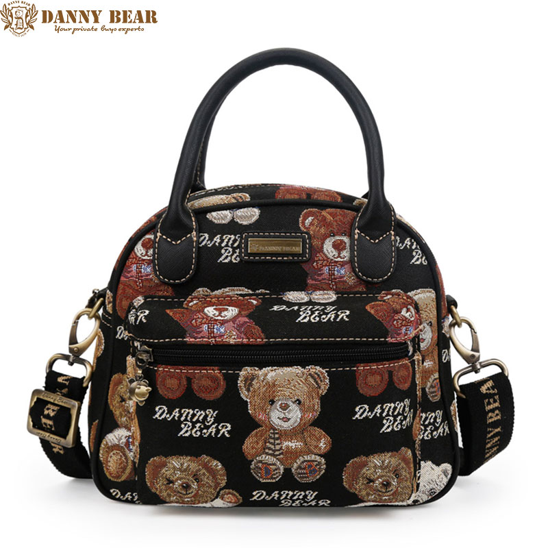 DANNY BEAR Women Handbags Black Jacquard Tote Bags Fashion Large Ladies Shoulder Crossbody Bag Cute School Causal Messenger Bags<br>