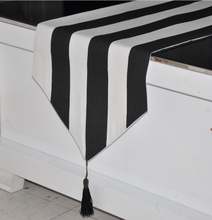 European style black and white striped table runner table cloth contemporary and contracted stripe table flag bed flag