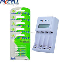 20Pcs PKCELL Pre-charged AAA Rechargeable Battery 4slot EU/US LCD Charging Indicator Charger For 1to4pcs AA/AAA NICD/NIMH Batter