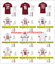 2017 HOT SALES 2018 BEST QUALITY ADULT KIT AC MILANES SOCCER JERSEY + SOCKS 17 18 HOME RED AWAY GRAY MEN SHIRT FREE SHIPPING(China)