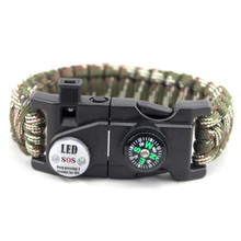 Best Deal Product SOS Bracelet LED Lamp Emergency Survival Bracelet Outdoor Camping Compasses Multi-Function Hand Rope(China)