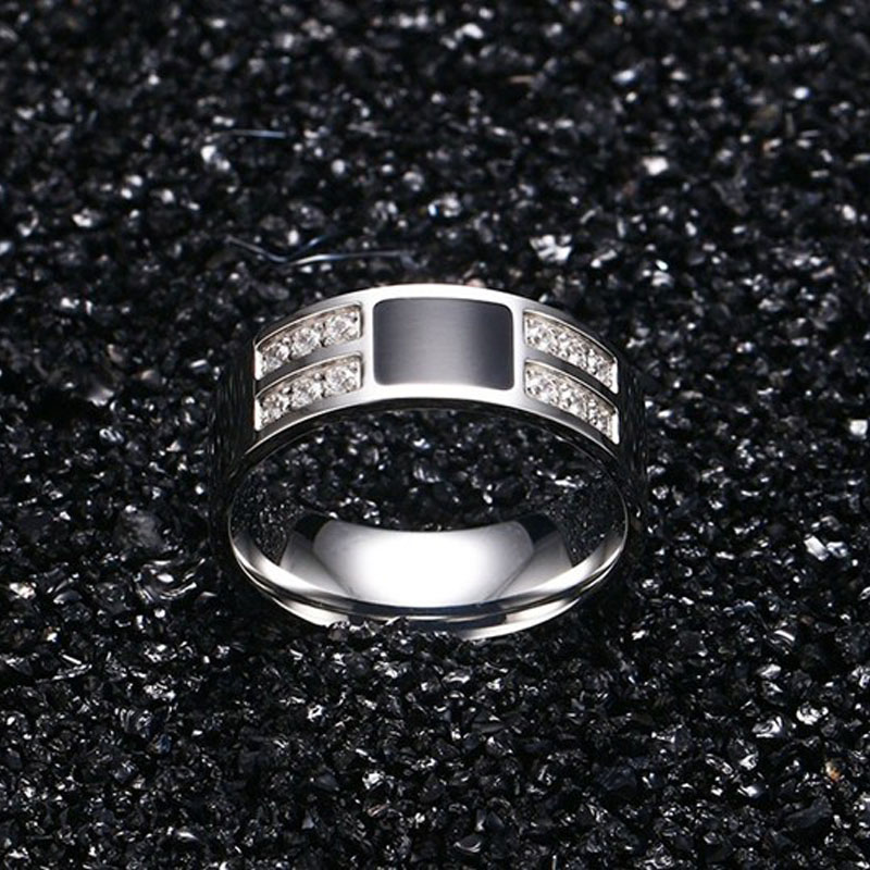 Meaeguet Classic Men\`s Stainless Steel Crystal Cubic Zirconia Engagement Wedding Ring High Polished Silver Color Stone Anel