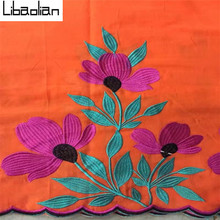 2017China cotton orange flower pattern lace nigerian swiss cord voile lace fabrics for sewing dressing 5yards/pcs S079-14