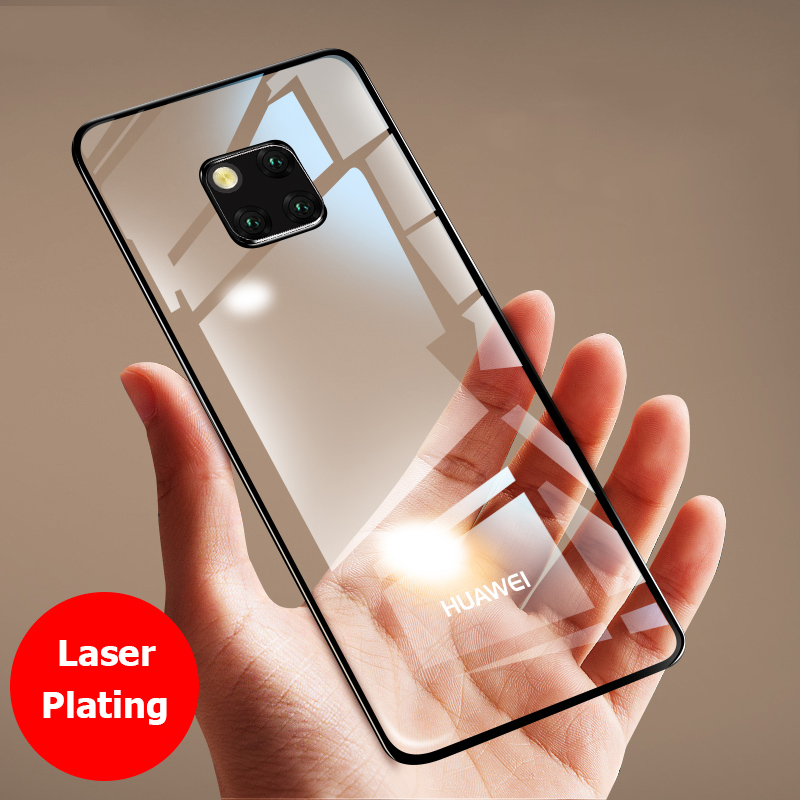 For Huawei Mate 20 Pro Case Luxury Laser Plating TPU Cover Back For Huawei Mate 20 X Soft Transparent Silicone Shockproof Coque(China)