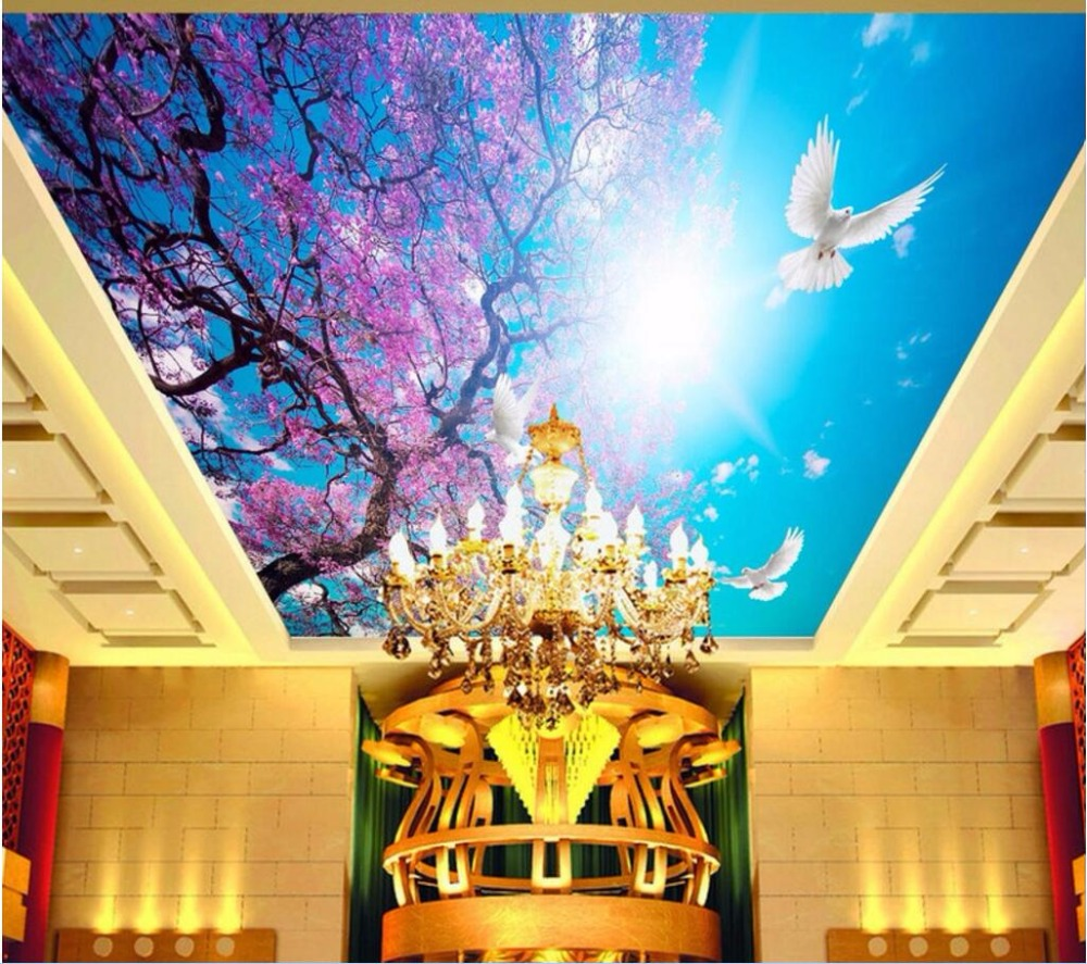3d wall murals wallpaper walls 3 d ceiling murals wallpaper picture Cherry blossom blue sky dove room decor photo painting
