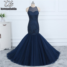 Cheap Price US4 Size Only ONE PIECE Dark Blue Pearls Beading Mermaid Prom Dress Open Back Sexy Bling Bling Evening Gown(China)