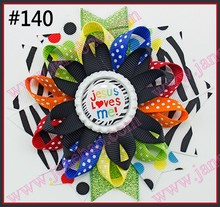 free shipping 300pcs4.5'' bottle cap loopy hair bows Flower hair bow  Loopy hair clips  Girls hair clippied
