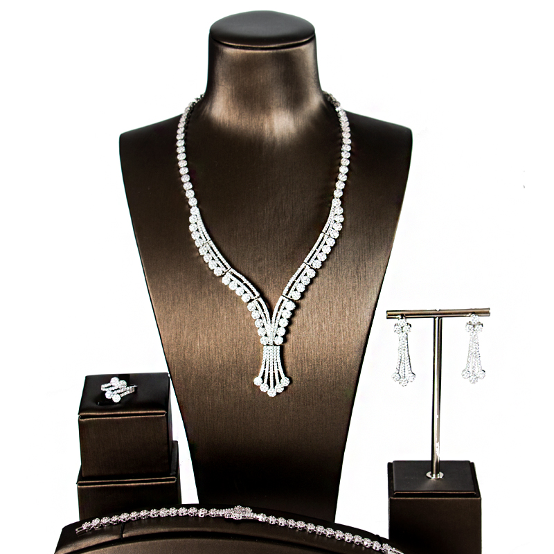LAN PALACE new fashion Nigeria luxury simple silver color cubic zirconia jewelry sets four pieces