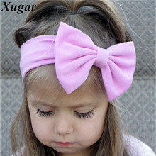 Lovely Girls Cotton Headband Solid Hair Bows Headbands For Kids 2017 New Arrival Newborn Kids Cotton Hair Accessories(China)