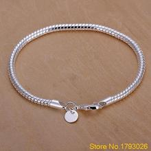 Women's Girl's Silver Plated 3mm Snake Chain Bangle Bracelet  for decoration 4TS8