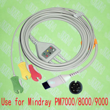 Compatible 6pin Mindray PM9000, PM8000,PM7000 and Goldway ECG Machine the one-piece 3 lead cable and clip leadwire,IEC or AHA.(China)
