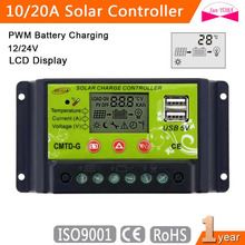 PWM 10A/20A Flexible Solar Panel Charge Controller 12V 24V LCD Display USB 5V Solar Battery Charge Regulator Protection