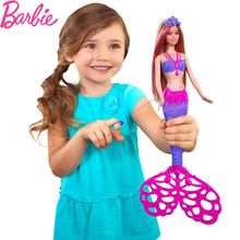 Barbie Rainbow Lights Mermaid Doll Feature Mermaid Barbie Doll Girl Christmas Birthday New Year Gift CCF49(China)
