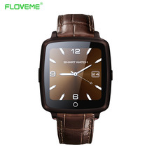 Luxury Leather Smart Watch Clock With Dial SMS Remind Pedometer Bluetooth Wristwatch For iPhone 5S 6 6S Plus For Samsung Huawei