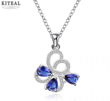 best friends silver collar necklace Insets butterlly blue stone pendant multi-layer necklaces jewelry SMTN554