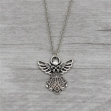 10pcs/lot Wholesale Fashion Elegant Gifts Antique Silver Guardian Angel Pendant Necklace Women's Cute Lucky Jewelry Accessories