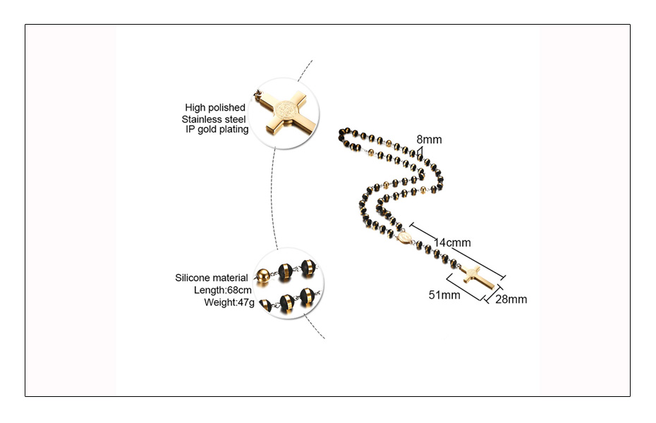Meaeguet BlackGold Color Long Rosary Necklace For Men Women Stainless Steel Bead Chain Cross Pendant Women\`s Men\`s Gift Jewelry (5)