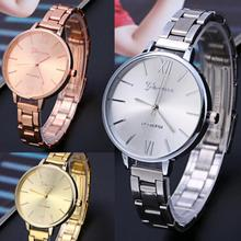 Luxury Women Big Dial Thin Stainless Steel Band Analog Quartz Wrist Watch Watches Roman Numbers(China)
