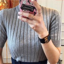 Latest T shirt  Women Tops Summer style Knitting With short sleeves  Elastic Set head High quality Promotion price BN922