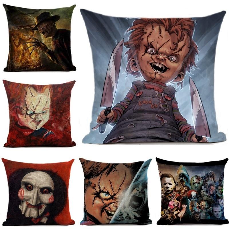 Chucky Cushion Cover Horror Movie Printed Linen Throw Pillows Cover Car Sofa Decorative Pillowcase Decoration 45x45cm