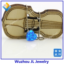 (MOQ=1 piece) Wow! Fashion Dark Blue Heart Opal Pendant Necklace With Silver And Gold Chain Wholesale Price(China)
