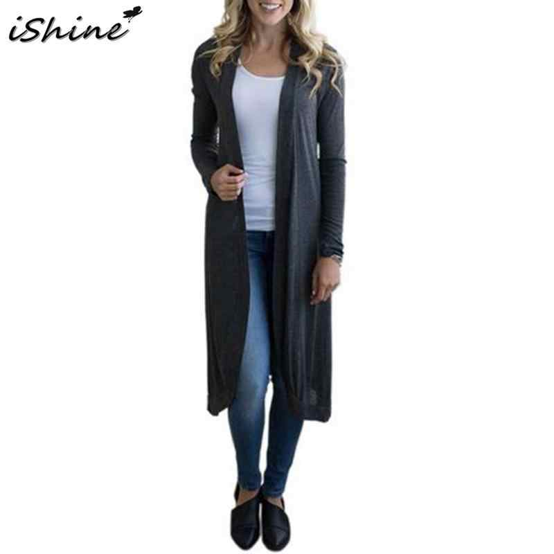 1086bcadcd Detail Feedback Questions about iSHINE 2018 European And American Fashion  Autumn Women s Solid Color Long sleeved Knit Wild Long Cardigan Coat on ...
