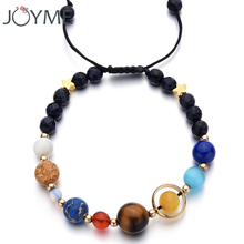 Adjustable Size Handmade Universe Galaxy Eight Planets Solar System Guardian Stars Stones Beads Women Elastic Bracelets Bangles(China)