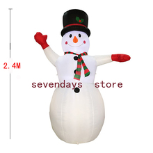 Christmas Decor 2.4M Inflatable Snowman Santa Claus Christmas Decoration For Hotels Supper Market Entertainment Venues Holiday(China)