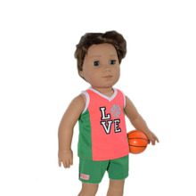 Logan's Basketball Clothes Wear Fit 18 inch american doll,Children best Birthday Gift ( Basketball Clothes+Basketball)(China)
