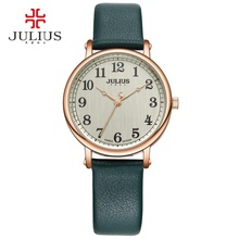 JULIUS Ladies Watches Top Brand Luxury Dark Green Simple Casual Dress Leather Strap Silver Rose Gold Arabic Number Montre JA-949(China)