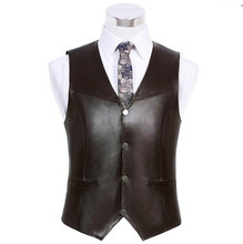 High quality Men's  sheepskin Leather vest Clothing  Reporters  More Than Pocket Quinquagenarian Men Vest Tops